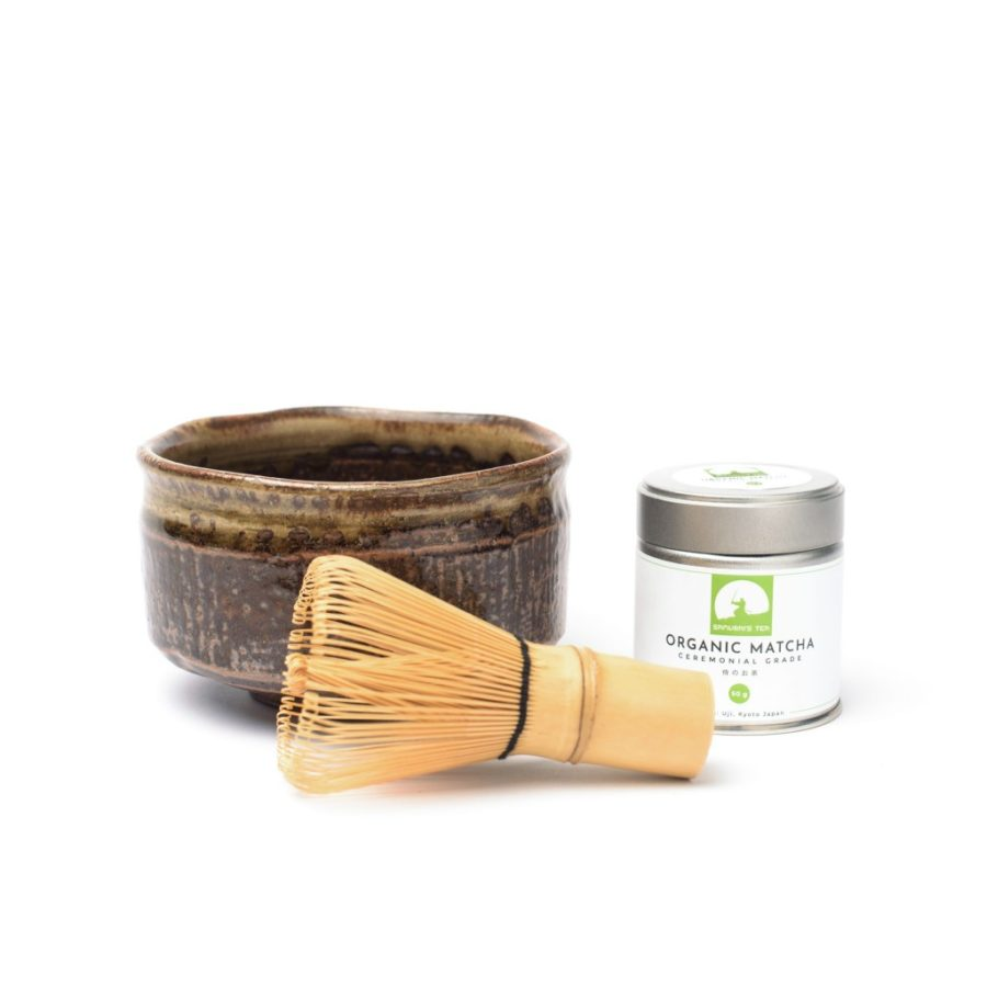 samurais tea matcha set with whisk and bowl